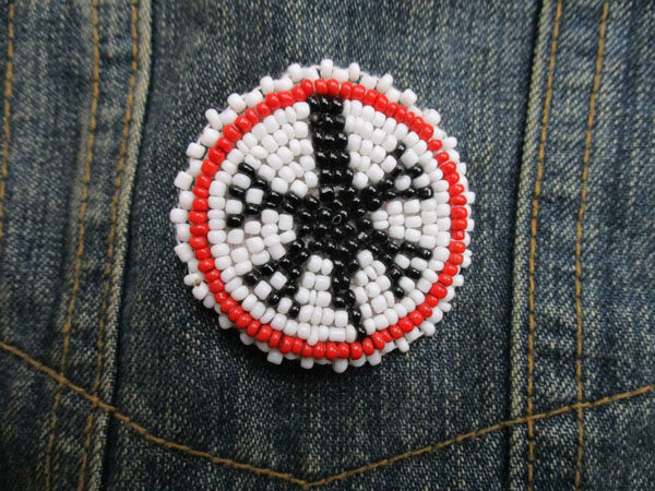 "Red-White-Black 1.5"" Native American Beaded (034)"