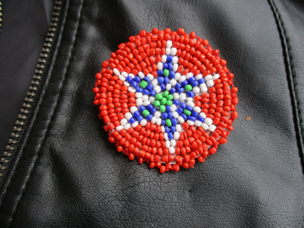"Red Star Native American Beaded 1.5"" (038)"