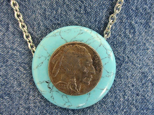 045 Turquoise Indian Head Chief -Buffalo Nickel