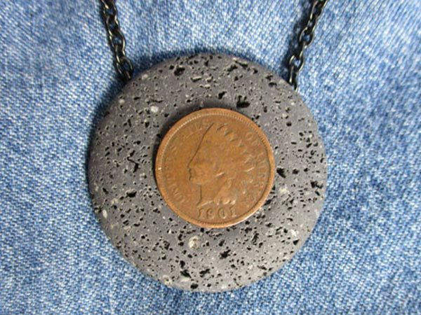 050 1901 Indian Head Penny on Lava