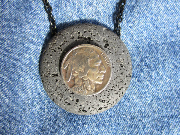 051 Indian Chief-Buffalo Nickel on Lava