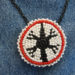 052 Native American 1.5″ White-Red-Black Bead Pendant