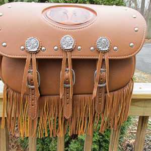 Scout Saddlebag with fringe, spots, Indian Chief Conchos, Double Chief Embossment $725 plus shipping (usually about $35)