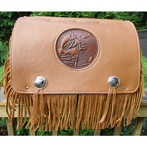 "Indian Scout Trunk - Fringe - Indian Dollar Imprint - Indian Scout Conchos 14""x12""x12"" - Indian Desert Tan Leather (No Side Pockets) $425 -- Add $75 for two side pockets"