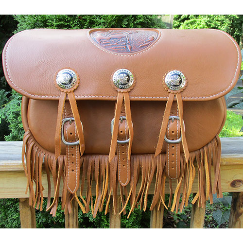 Indian Scout Saddlebags -Stock Indian Conchos-Dollar Imprint-Fringe $725 Includes Mounting System