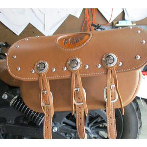 Scout Saddlebags - Desert Tan Leather - Stock Indian Conchos - Spots - Squaw Imprint $725 -- Rear View Mounted