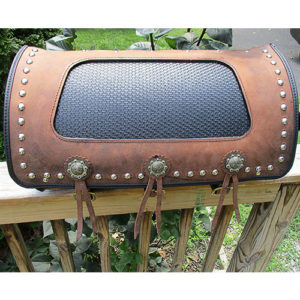 "Custom brown leather, black basketweave insert, scroll western buckles, pockets - $598. 20""x12""x11"""