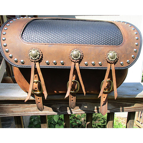 "Custom saddlebags 20""x7""x14"" Custom brown leather, Scroll conchos, black basketweave inset, black binding, spots - $798. To fit Harley-Davidson or Indian Chief"