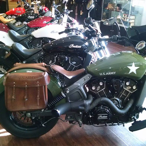 Scout Saddlebags - Military - Army Embossed - Dark Brown