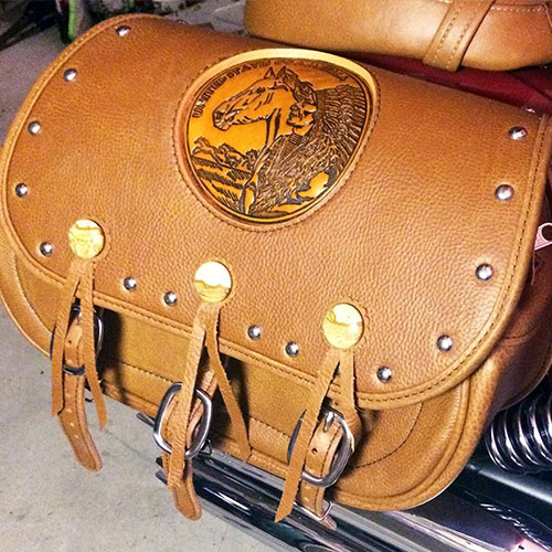 Scout Saddlebags - Picture Jasper Gemstone Conchos - Horse-Chief Embossment - Indian Tan Leather