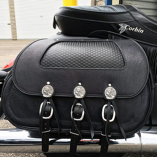 Chief Saddlebags - Black Leather - Gas Tank Indian Conchos - Basketweave Insert