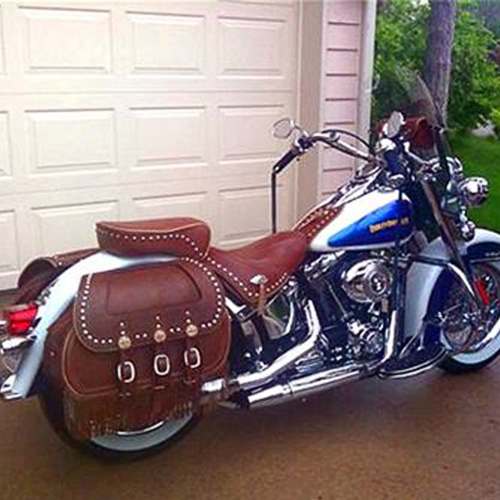 Chief Saddlebags - Custom Brown Leather - Spots top and bottom - Fringe - Plain Leather Insert