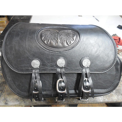 Chief Saddlebags - Antique Black Leather - Double Chief Insert - Gas Tank Conchos