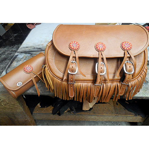 Scout Saddlebags - Indian Tan Leather - Beaded Conchos Saddlebags and Tool Bag