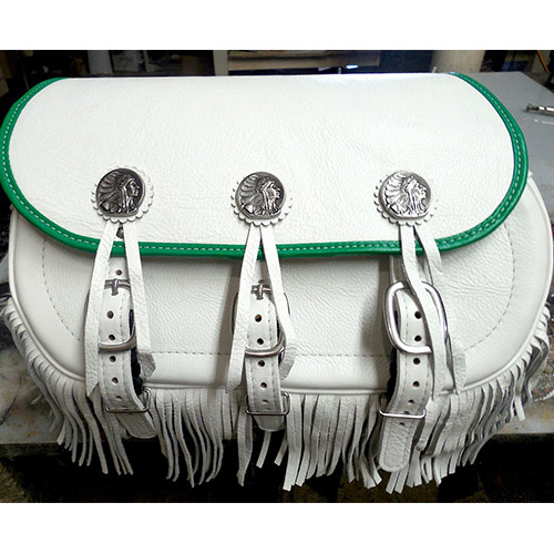 Scout Saddlebags - White Leather with Green binding - Gas Tank Conchos