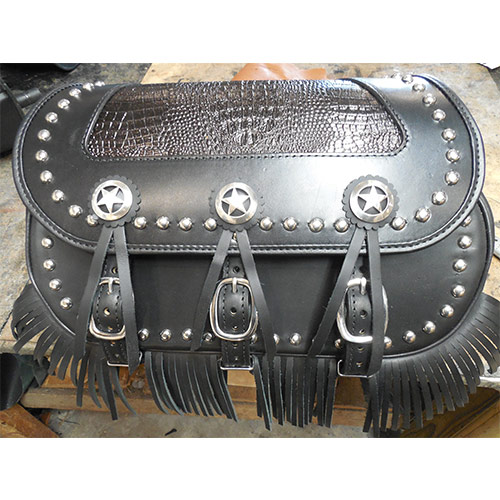 Chief-Chieftain-HD Black Leather - Fringe - star conchos - aligator embossed leather top insert - spots