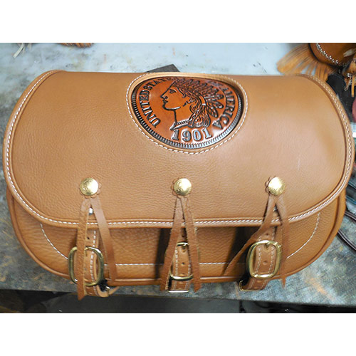 Scout Saddlebags-1901 Indian Head Penny Insert-Indian Tan Leather - Conchos. Brass Buckles -Matching Brass Conchos