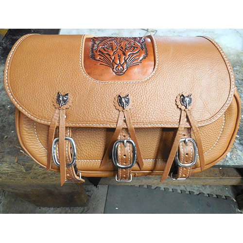 Scout Saddlebags-Custom Wolf Embossing-Wolf Conchos-Indian Tan Leather $725 plus $100 for custom Embossment