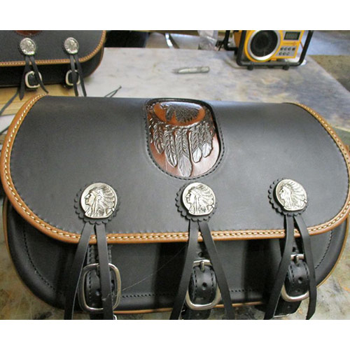 Scout Saddlebags - Black Leather - Gas Tank Conchos - Indian Tan Binding