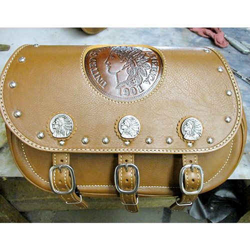 Indian Tan Leather -Gas Tank Conchos -spots-chief embossing
