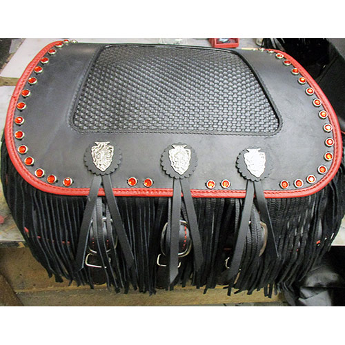 Chief Saddlebags - Red Binding - Fringe - Red jewels - Basketweave - Arrowhead Conchos