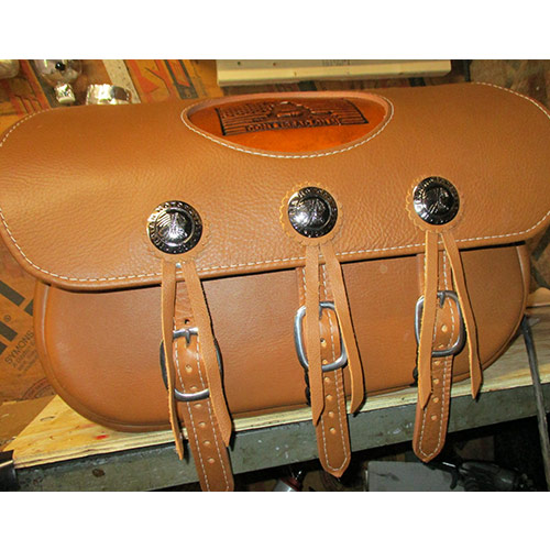 Scout Saddlebags - Indian Tan Leather - Indian Conchos - Don't Tread On Me Embossment - No Fringe $725