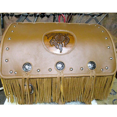 Indian Chief – Chieftain Trunk Sun Arrow Embossment - Indian Conchos - Fringe Spots - $725