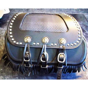 Chief-H-D Saddlebags Black leather - Star Conchos - fringe - close spaced spots - black binding - Basketweave Inset
