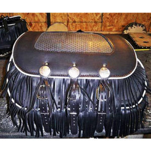 Chief-H-D Saddlebags - Black Leather - White Binding - Basketweave Inset - Fringe top and bottom