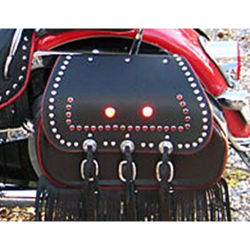 Chief Saddlebags - Black Leather - Red Binding-Piping -Spots -Red reflectors -Fringe