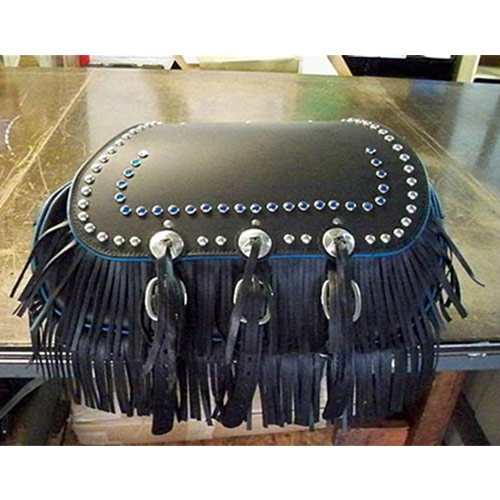 Chief Saddlebags - Black Leather - Close spots - Blue Jewels - Blue piping