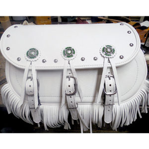Scout Saddlebags - White Leather - Tandy Conchos