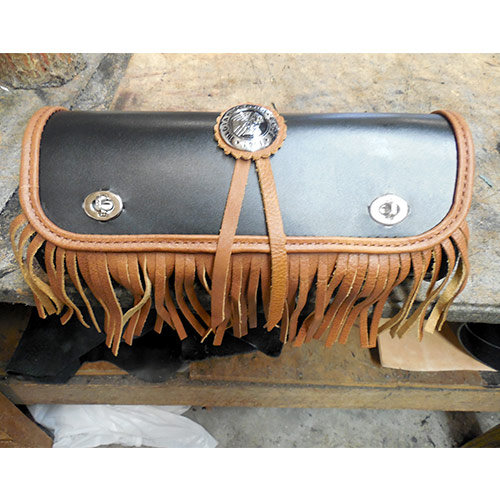 Tool Bag Black and Tan Leather Stock Indian Concho